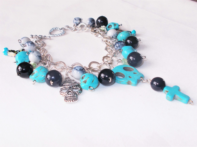 Halloween Day of the Dead Charm Bracelet Turquoise and Silver Steampunk Cosplay