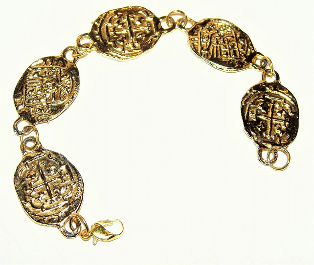 Gold Tone Pirate Style Bracelet FREE UK Post