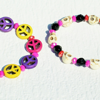 Two Festival Bracelets Skulls Peace - FREE UK Post