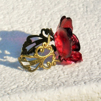 Adjustable Red Rose Ring