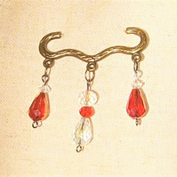 Red & Clear Crystal Brooch FREE UK Post