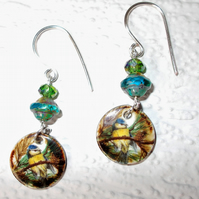 Blue Tit ceramic charm earrings