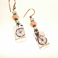 Artisan Shabby Chic Long Dangle Earrings