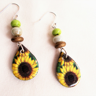 Ceramic Sunflower Drop Earrings - FREE UK post
