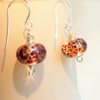 Artisan Lamp Work Glass Bead Earrings - FREE UK Post
