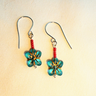Blue Flower Earrings - FREE UK Post