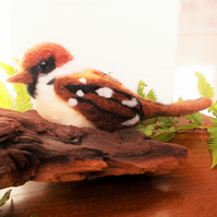 Collectable Artisan Felted British Sparrow Ornament