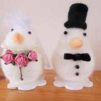 Felted Wedding Bride & Groom cake topper FREE UK Post