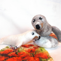 Hand Made Felted Mother & Baby Seal