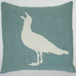 Seagull Linen Appliqued Cushion Cover Artisan Made Duck Egg Blue