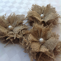 Hessian Shabby Flowers Weddings Cakes Crafts x 10