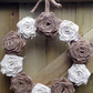 Hessian Wreath Natural & Ivory Roses 10""