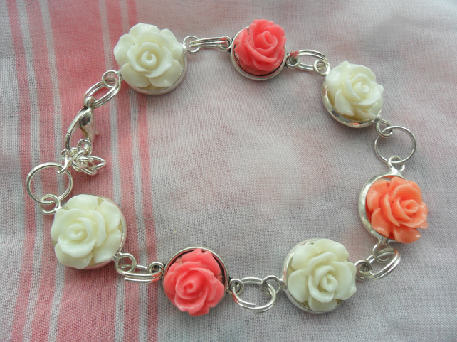 Unique Handmade  flowered charm Bracelet for special gift for christmas