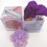 kit-in-a-cube fun with felt flowers 1 - wetfelting kit