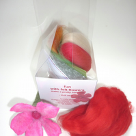 kit-in-a-cube fun with felt flowers 2 - felting kit