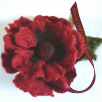 RBL handmade felt poppy with leaf