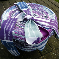 Liberty print fabric coiled fabric basket with lid - small storage