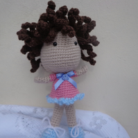 Crochet Doll handmade Amigurumi dolly curly hair toy