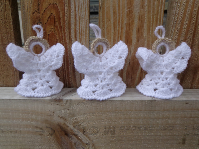 three crochet angels christmas tree decoration set hangings ornaments - Crochet Angel Christmas Tree Decorations