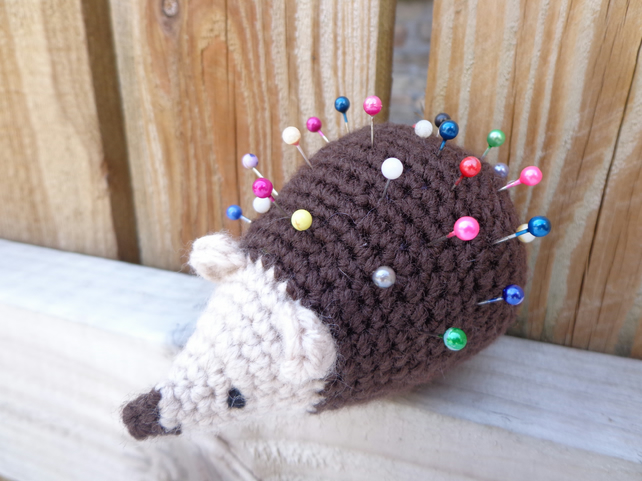 Hedgehog pincushion crochet stuffed animal figure free UK post