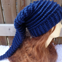 Aran crochet elf hat one size free UK post Autumn Winter Navy dark blue