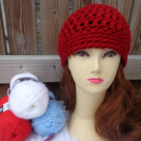 Red Crochet beanie skull cap hat
