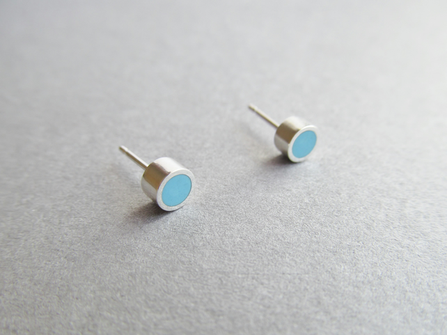 Tiny Sterling Silver and TURQUOISE Resin Studs