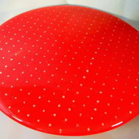 Red cake stand with white polka dots