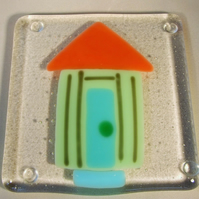Green and Orange Beach Hut Coaster