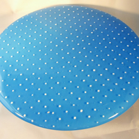 Blue with white polka dot cake stand