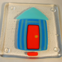 Light and Dark Blue Beach Hut Coaster
