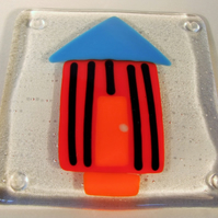 Orange and Blue Beach Hut Coaster