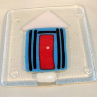Blue and Pink Beach hut coaster
