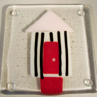 Pink and White Beach Hut Coaster