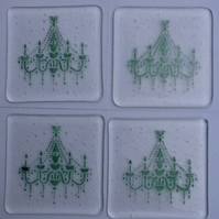 Chandelier Coasters in aventurine green