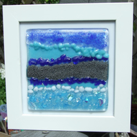 Blue abstract landscape in white frame