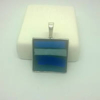 Blue Square Mini Landscape Pendant