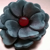 Black and Red Flower Brooch