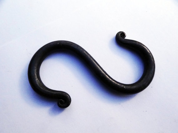 Hand forged S hook, double hook, uk blacksmith made
