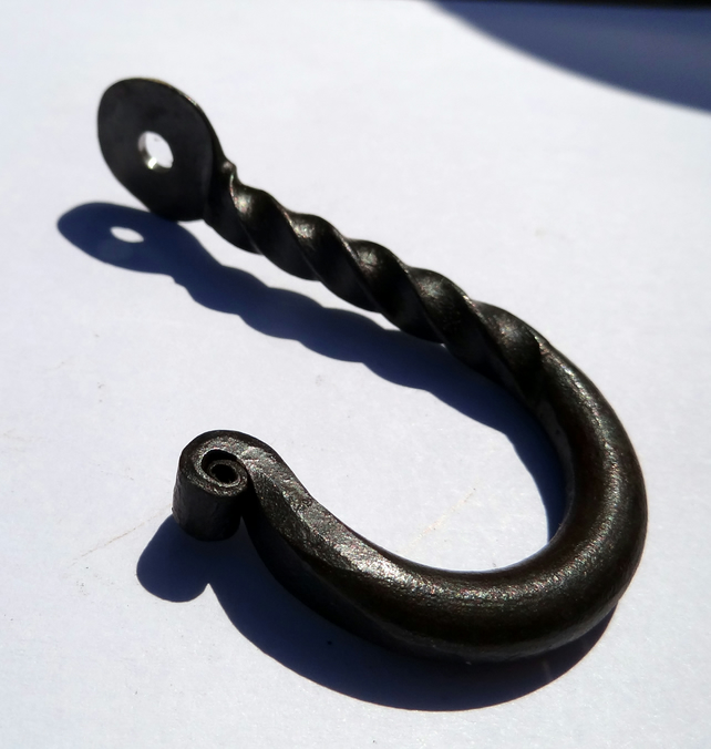 Hand forged hanging hook UK blacksmith made, screw in hook