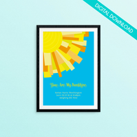 "Personalised New Baby PRINT YOUR OWN - Sun Rays ""You are my sunshine"""