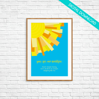 "Personalised New Baby PRINT YOUR OWN - Sun Rays ""You are our sunshine"" - A4"