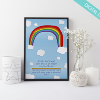 Personalised New Baby or Christening PRINT YOUR OWN - God's Rainbow Promise