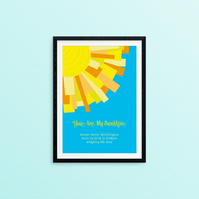 "Sun Rays ""You are my sunshine"" - A4 - Personalised New Baby Print"
