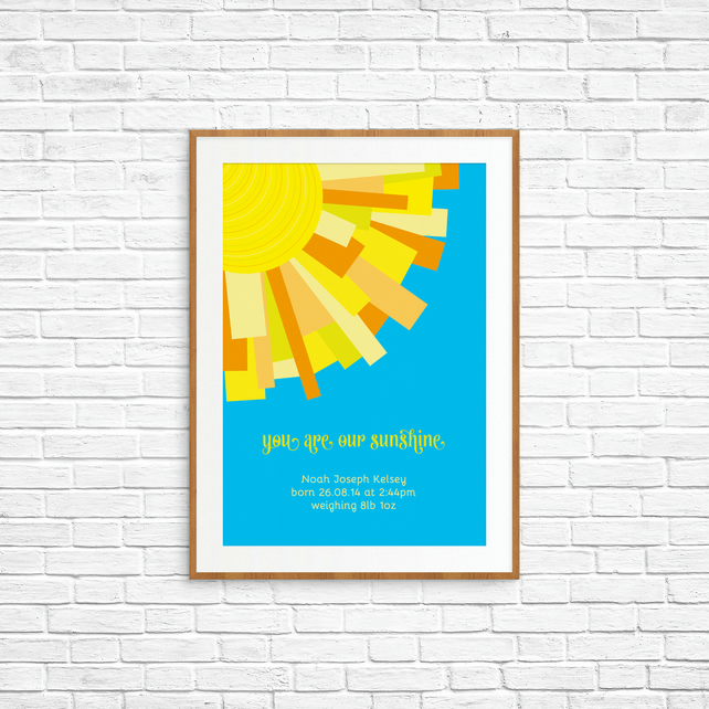 "Sun Rays ""You are our sunshine"" - A4 - Personalised New Baby Print"