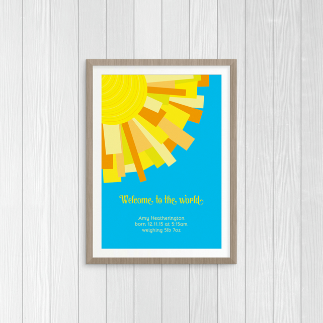 "Sun Rays ""Welcome to the world"" - A4 - Personalised New Baby Print"