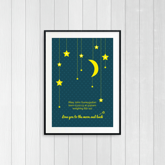 "Night Sky ""Love you to the moon and back"" - Personalised New Baby Print - A4"