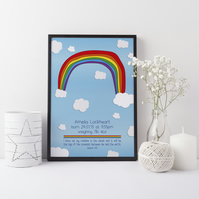 "God's promise ""I have set my rainbow..."" A4 Personalised New Baby Print"