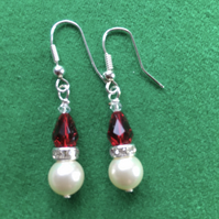 Christmas Pearl Santa Earrings