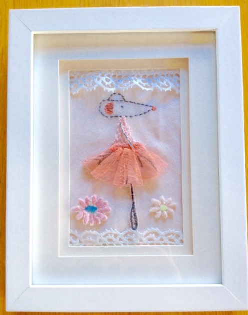 Fabric & Embroidered Ballerina Mouse (cw frame)